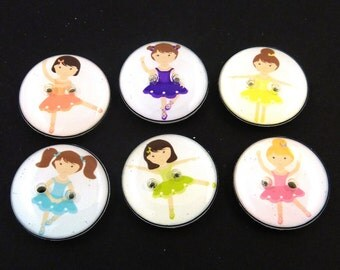 6 Ballerina Buttons. Ballerina  or Dancer Handmade Sewing Buttons. Cute Novelty Buttons for your Crafting, Knitting or Crochet Projects.