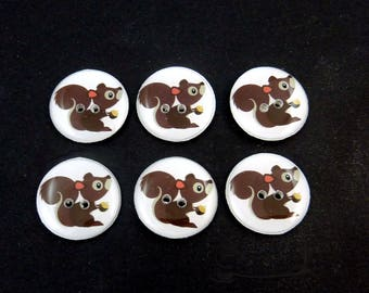 """6 Handmade Squirrel and Acorn Buttons. 3/4"""" or 20 mm Sewing Buttons.  Forest animal buttons for sewing, knitting, crochet and more."""