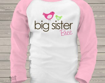 big sister shirt (or big sister to be) on a cute baseball raglan style shirt  SLEEVES MAB1-007