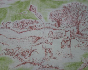 Children's Toile Fabric, White, Green, Wine Cotton Fabric with Children Playing in the Park or Playground, Nursery or Kid's Room Toile Print