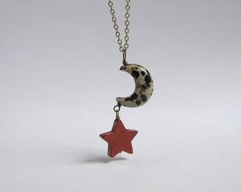 Moon And Star Necklace, Dalmatian Jasper Red Jasper Antiqued Brass Stone Necklace