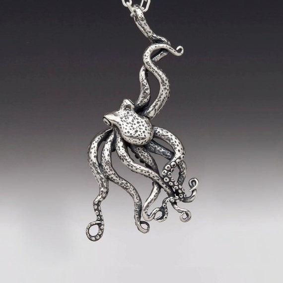 Octopus Necklace Silver - Large Octopus Pendant - Octopus Jewelry - Kraken Jewelry Kraken Necklace - Tentacle Jewelry Tentacle Necklace