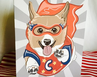 Super Corgi Greeting Card - Customizable with Your Letter Choice