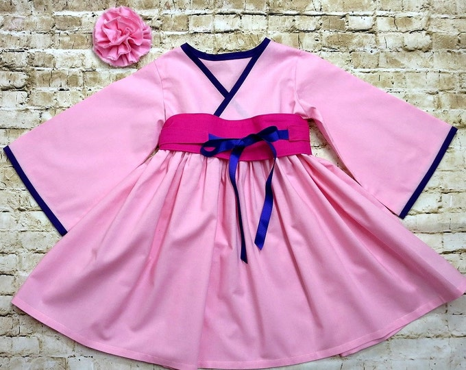 Princess Mulan Dress - Girls Dress - Birthday Dress - Little Girls Dresses - Toddler Dress - Mulan Dresses - Girls Pink Dress - 2t to 7 yrs