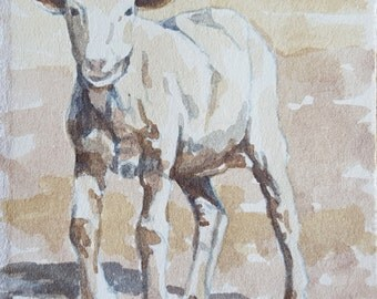 Sheep Original Watercolor painting 3.75 x 3.25 inches Sheep painting Sheep watercolor Sheep art Lamb painting Nursery art Kids wall art Lamb