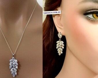 Bridal Jewelry Set, Leaves Bridal Earrings, Leaf Bridal Necklace, Swarovski Crystal Wedding Jewelry, Cluster Wedding Earrings, BOTANICA