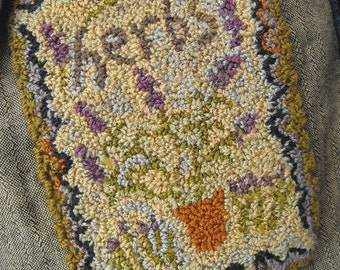 Herb Seeds Punchneedle Embroidery Pattern printed on weavers cloth//Karen Kahle//potted lavender