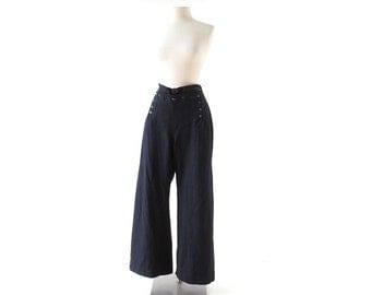 Vintage 1940s Pants | Wool Sailor Pants | 40s Trousers | US Navy Pants | 31W M L