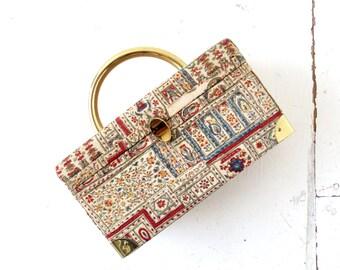 Vintage 1950s Handbag | Kashmir |  Box Purse | Ingber