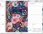 2017 planner 12 month calendar | add monthly tabs weekly student planner | personalized planner agenda | blue pink navy watercolor floral