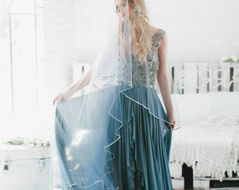 Wedding Veil, Drop Veil, Bridal Veil, Blue Ombre' Veil, Two Tier Veil, Pencil Edge Veil Hand Dyed Veil Fingertip Length Cathedral Veil, 1711