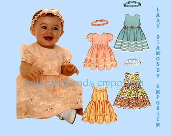 New Look 6575 Baby Girls Easter Party Dress 4 Styles Headband Infants size NB S M L, 7 to 24 lb OOP Babydoll Dress Sewing Pattern Uncut FF
