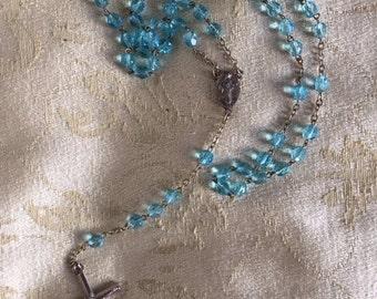 Blue Glass Medugorje Rosary