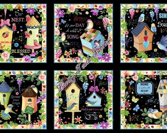 "Quilting Treasures / Helz ""Blessed"" 24901-J Birdhouses Birds Sayings Fabric Panel 24"" X 44"""
