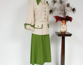 Vintage 1940s Suit - Phenomenal Two Tone Linen Colorblock Summer 40s Suit with Huge Collar and Bold Details