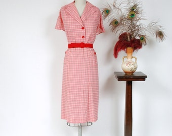Vintage 1930s Dress - Charming Red, Pink and White Cotton Plaid 30s Day Dress with Bright Red Buttons