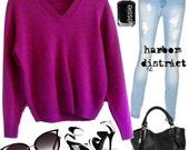 Vintage 70s Magenta V-Neck Sweater - Size M