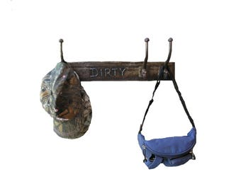 Industrial Hat Rack Cast Iron Hooks Wall Mount Coat Rack Necklace Hanger Manly Gift Entryway Decor Upcycled Junk Double Hooks Porch Hanger