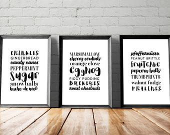 Christmas Print Set, Printable Art, Gallery Wall Art Instant Download Holiday Decor Minimalist Poster Kitchen Art