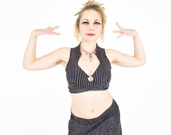 Madeline Top - Silver Glitter Pinstripe -  bellydance, tribal fusion belly dance