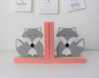Fox Bookends, tribal inspired nursery, Gray and Coral Pink, Girl Woodland Nursery, Woodland Kids Decor, Girl Fox Nursery, Baby Girl Fox