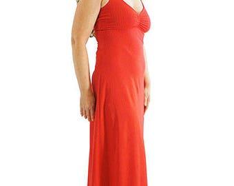 Long Cami Dress - XS -CLIFFORD RED- Organic Cotton/Spandex