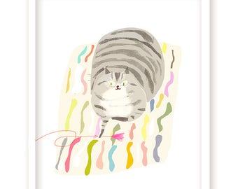 Rug Cat Print - Cat Mom or Cat Dad Art - Cat Lover - Pet