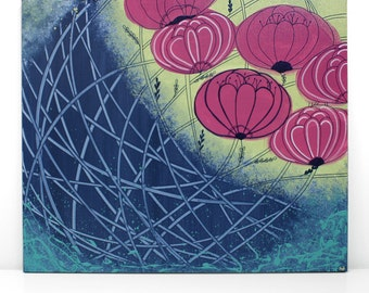 Blue Abstract Painting - Flower Canvas Wall Art Acrylic Painting - Small 24x20