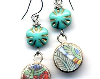 Long Butterfly Earings, Butterfly Earrings, Sterling Silver ear wire Earrings, Old Pottery Shards petite insect Earrings, Ming Pottery Style