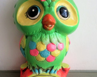 Vintage Bank, Owl Bank, Plaster Owl, Groovy 1970s Owl Money Bank, Holiday Fair Bank, Vintage Piggy Bank, Dime Store Owl, Groovy Colors Bank