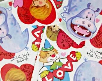 Vintage Valentines, Kids' Valentines, 1970s Valentines, St. Valentines Day, Vintage Child Valentines, Hippo Clown Kids, Cute Kawaii Zakka