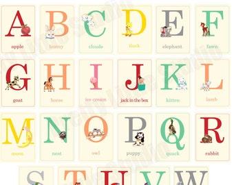 Digital | Print at Home | 5x7 Baby ABC Alphabet Flash Cards Vintage Retro Style