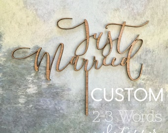 CUSTOMIZABLE Cake Topper: 2-3 Word (You Choose the Font and Words)
