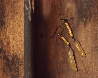 Dawning. Rustic Asymmetrical Bohemian Golden Yellow Agate and Glass Beaded Drop Earrings.