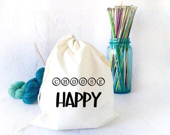 Drawstring Bag- Bag for Knitting- Inspirational Drawstring Bag- Quote Bag - Drawstring Bag for Knitting- Sock Knitting