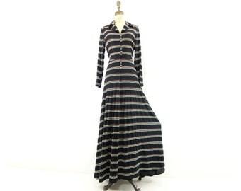 1970s Maxi Dress Tittle Original Boho Maxi Dress Jersey Knit Dress Black Maxi Dress Metallic Stripe 70s Party Dress 70s Boho Maxi Dress m