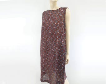 60s Shift Dress 60s Floral Dress Vintage Summer Dress Vintage 60s Dress 60s Sleeveless Dress Burgundy Dress Knee Length Dress s