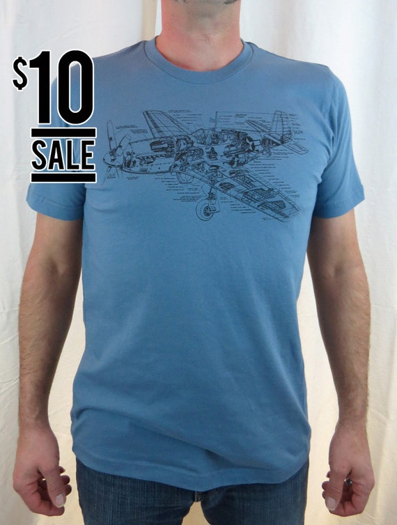10 Dollar Sale - P-51 Mustang Fighter Plane s/s tee