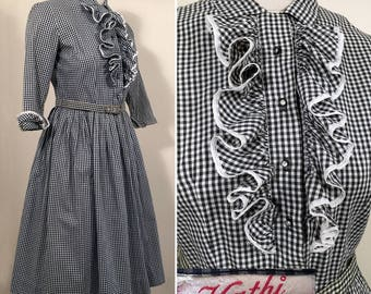 1950s Black and White Gingham Vintage Dress SZ S/M