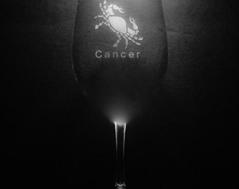 Cancer 13 Ounce Wine Glass