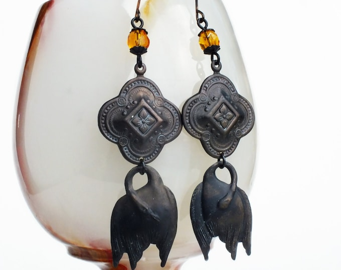 Black Swan Dangle Earrings Antiqued Brass Black Bird Earrings Topaz Beaded Dangles Vintage Style Black Swan Jewelry Bird Dangles