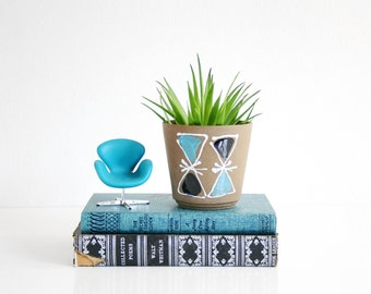 Mid Century Modern Triangles Planter / Vintage Geometric Flower Pot / Mid Century Plant Pot / Turquoise Atomic Planter