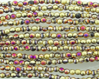 4mm 2 Tone Matte Metallic California Purple Gold Etched Czech Glass Round Beads - Qty 50 (BW162)