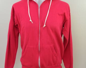 Vintage PANNILL pink HOODIE sweatshirt zip up made in USA size xl