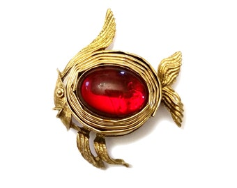 Rare Hattie Carnegie Fish Brooch, Gold & Glass Brooch, Jelly Belly Fish Jewelry, Vintage Designer Costume Jewelry Animal Pin Brooch Ocean