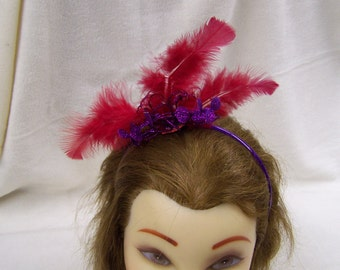 Red and Purple Feather Fascinator