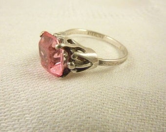 Vintage Sterling Silver and Pink GLass Adjustable Ring Size 6 1/4 - 8 1/4