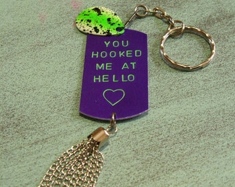 Personalized Fishing Key-chain Gift Handstamped Dog Tag Keychain Gift for Him Fathers Day Fishing Gift for Husband Romantic Gift Boyfriend