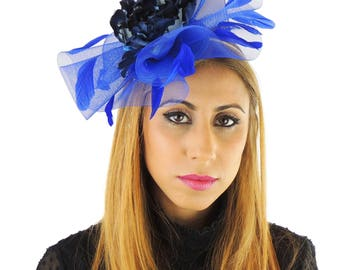 Royal Blue/Navy Fascinator Hat for Weddings, Kentucky Derby With Headband **SAMPLE SALE