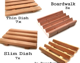22 Spanish cedar wood soap dish variety pack -  7 thin dishes - 7 slim dishes - 5 JR. Boardwalks - 3 Boardwalk